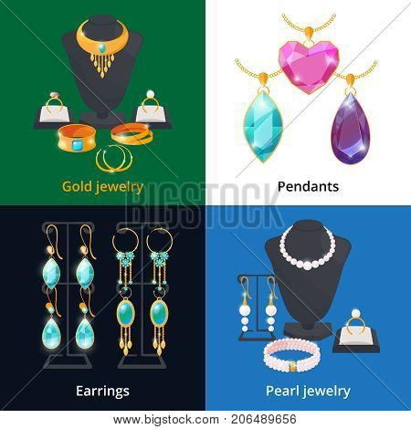 Jewelry shop with different luxury accessories. Sapphire, diamond and golden bracelet. Diamond and brilliant, pearl and jewellery, vector illustration