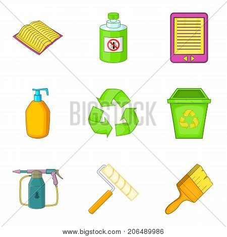 Decompose icons set. Cartoon set of 9 decompose vector icons for web isolated on white background