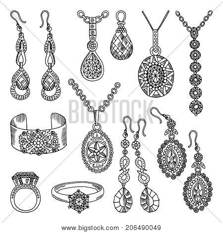 Hand drawn pictures set of luxury jewelry. Vector illustrations. Jewelry luxury accessory sketch hand drawn