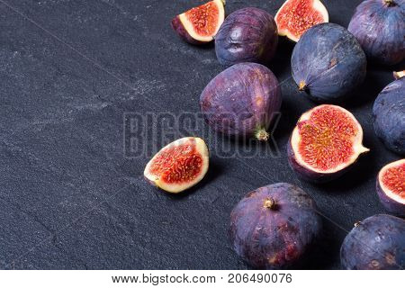 Ripe sweet figs . Healthy mediterranean fig fruit . space for text