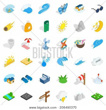 Forecast icons set. Isometric style of 36 forecast vector icons for web isolated on white background