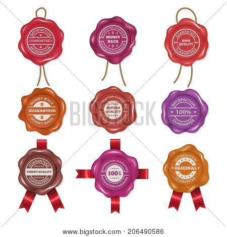 Wax stamps with different promo labels. Vector pictures set certificate and guarantee, money back and satisfaction illustration