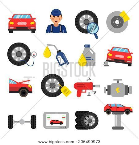 Automobile parts. Wheels and tires service of cars. Vector pictures in flat style. Automobile service repair and auto maintenance illustration