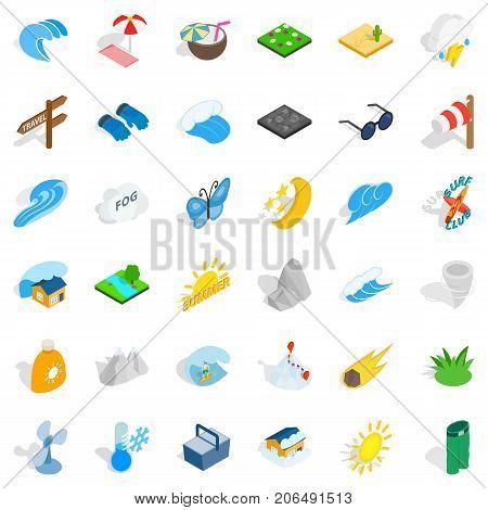 Weather forecast icons set. Isometric style of 36 weather forecast vector icons for web isolated on white background
