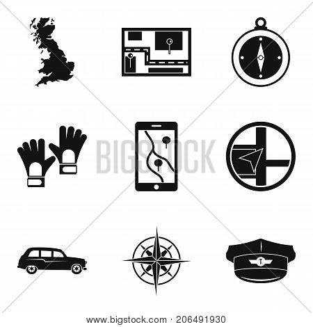 Route icons set. Simple set of 9 route vector icons for web isolated on white background