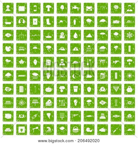 100 thunderstorm icons set in grunge style green color isolated on white background vector illustration