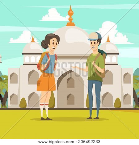 Travel in india flat composition with young  tourist couple on taj mahal mausoleum background vector illustration