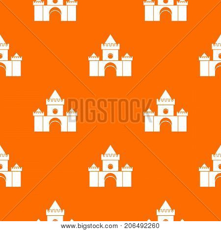 Fairytale castle pattern repeat seamless in orange color for any design. Vector geometric illustration