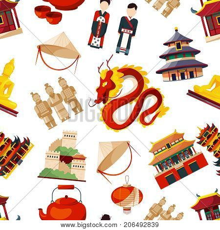 Seamless patterns with elements of traditional china culture. Vector asia chinese traditional, dragon and building illustration