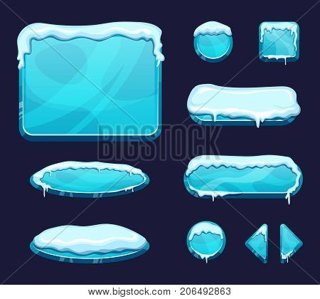 Mobile game ui template in cartoon style. Glossy buttons and panels with ice and snow caps. Panel interface cover snow decoration effect illustration