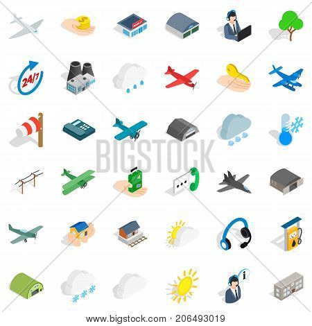 Suitcase icons set. Isometric style of 36 suitcase vector icons for web isolated on white background