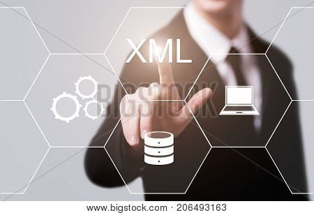 XML Code Programming Web Development Internet Technology Concept.