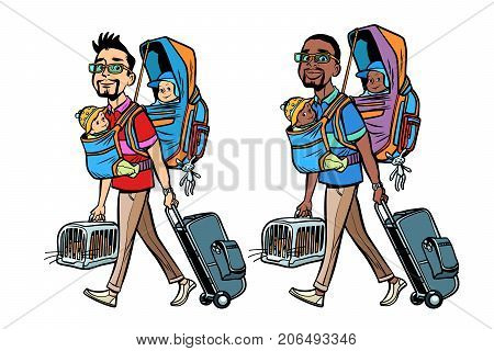Set good white and black father traveller with children and Pets. Hand drawn illustration cartoon pop art retro vector style