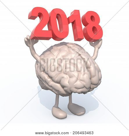 Brain With Arms, Legs And The 3D Inscription 2018