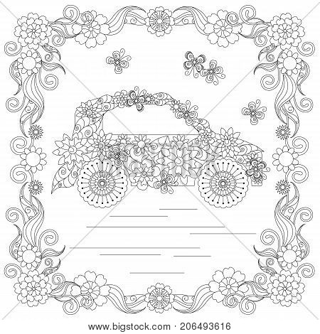 abstract, adult, car, anti stress, art, background, blooming, butterflies, children, coloring book, coloring page, cute, doodle, eps 10, flowering, for print, frame, hand drawn, illustration, jpeg, on white, romantic, square, stock, thin line, vector, ske