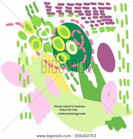 Vector avantgarde pattern with multicolored shapes and spots. Copy space. Abstract design template