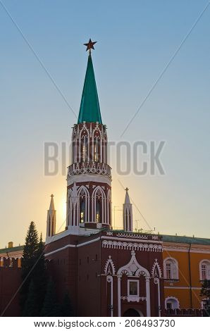 Nikolskaya Tower - one of the towers of the Moscow Kremlin, overlooking the Red Square. In the tower are the Kremlin's Nikolsky Gates