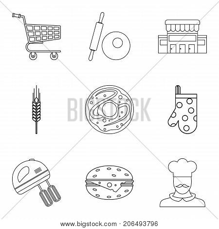 Pastry icons set. Outline set of 9 pastry vector icons for web isolated on white background