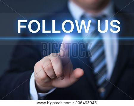 Follow us Social Media Followers Online Marketing Business Internet Concept.