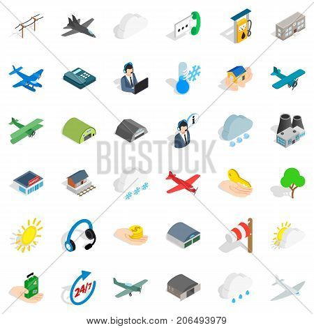 Dispatcher icons set. Isometric style of 36 dispatcher vector icons for web isolated on white background