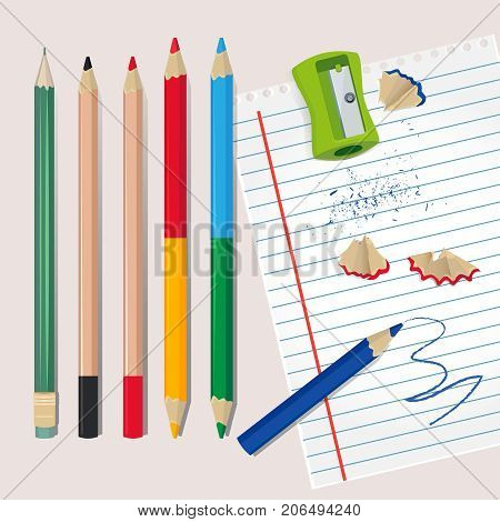 Sharpener and wood debris from the pencils. Vector illustrations for school or office. Sharpener and colored pencil