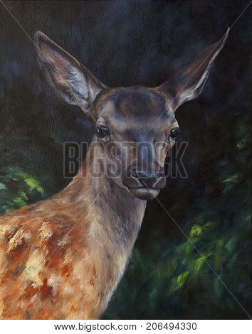 deer in the forest - wildlife picture painted with oil (canvas texture)