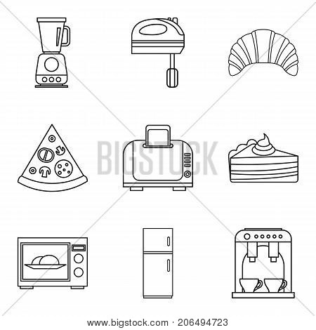 Mixing the dough icons set. Outline set of 9 mixing the dough vector icons for web isolated on white background