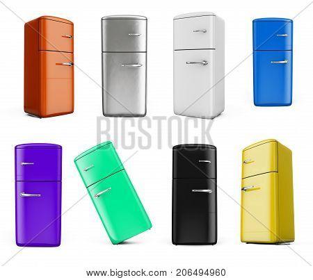 Retro fridge isolated on white bacground 3d render set