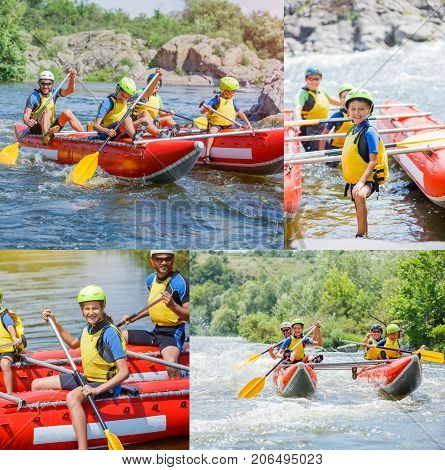 Collage of images Happy family of four wearing life vests and helmets on the catamaran. Rafting family on holidays