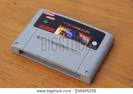 Almere, The Netherlands - September 29, 2017: Super Nintendo Entertainment System (SNES) game cartridge of Top Gear.