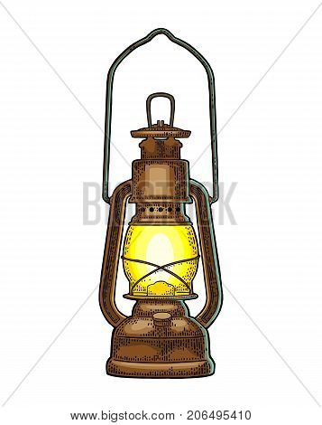 Antique retro gas lamp. Vintage color engraving illustration for poster web. Isolated on white background.