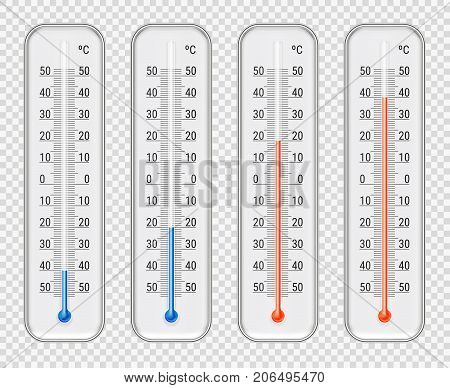 Outdoor indoor celsius red and blue different level alcohol meteorological thermometers set transparent background realistic vector illustration