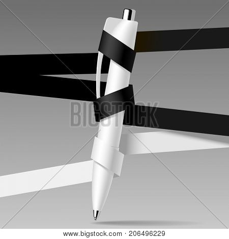 Education template with a pen and white and black ribbons. Business web page design