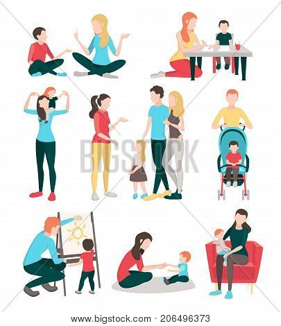 Babysitters people flat images collection with isolated human characters of young family members children and nurses vector illustration