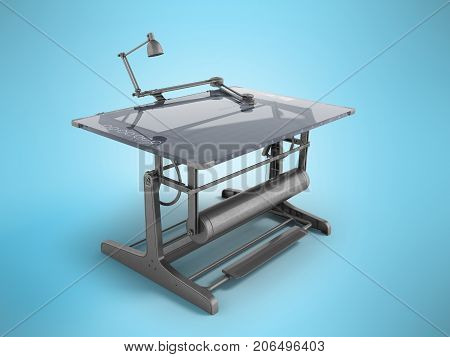 Electronic Drawing Table For Drawing With Regulators 3D Rendering On A Blue Background