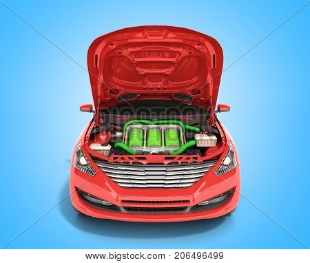 Concept Of Battery Capacity Of An Electric Car Batteries Under The Hood 3D Render On Blue