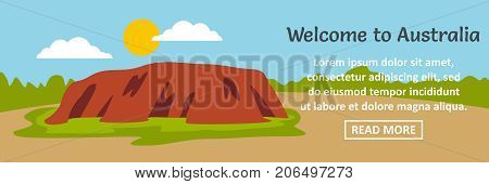 Welcome to Australia banner horizontal concept. Flat illustration of welcome to Australia banner horizontal vector concept for web design