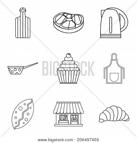 Cream bun icons set. Outline set of 9 cream bun vector icons for web isolated on white background
