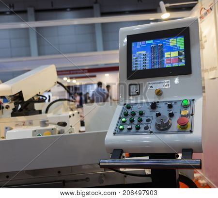 Control panel of CNC Grinding machine ; selective focus