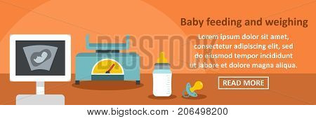 Baby feeding and weighting banner horizontal concept. Flat illustration of baby feeding and weighting banner horizontal vector concept for web design
