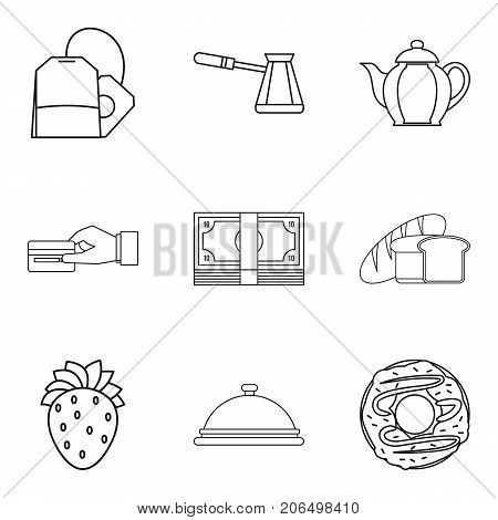 Piece of bread icons set. Outline set of 9 piece of bread vector icons for web isolated on white background