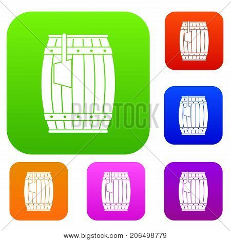 Wooden barrel with ladle set icon color in flat style isolated on white. Collection sings vector illustration