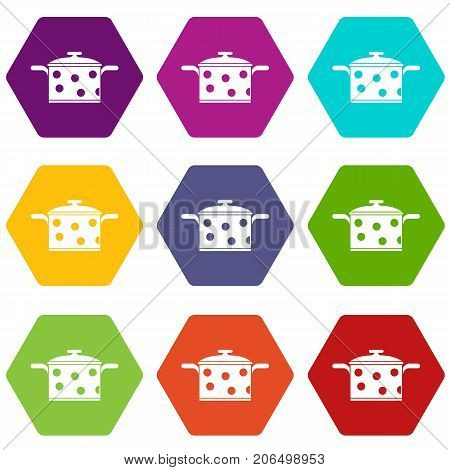 Saucepan with white dots icon set many color hexahedron isolated on white vector illustration