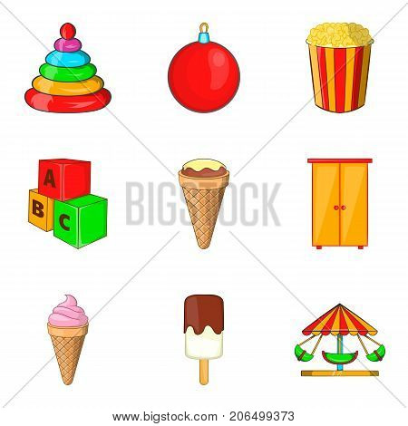 Spoiled child icons set. Cartoon set of 9 spoiled child vector icons for web isolated on white background