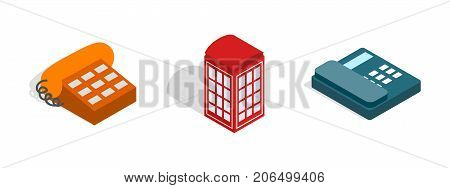 Telephone icon set. Isometric set of telephone vector icons for web isolated on white background