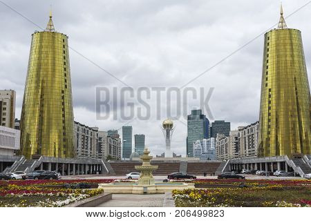 Astana, Kazakhstan - September 13, 2017: The Construction Of Glass And Concrete On The Main Square,