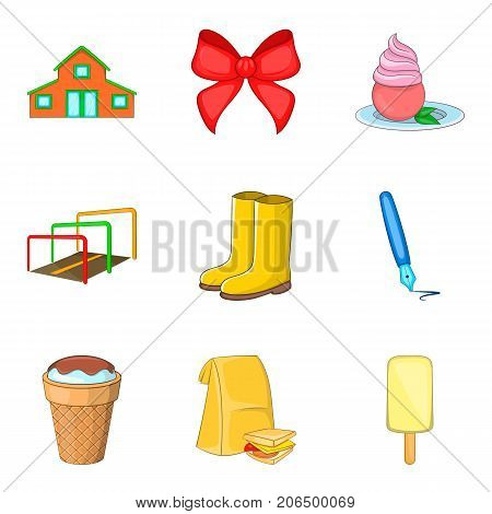 Grandchild icons set. Cartoon set of 9 grandchild vector icons for web isolated on white background