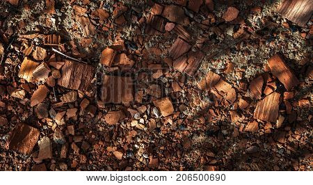 Broken bricks. Broken brick background. Brown background. Grunge brick background. Grunge brown brick. Grunge background.