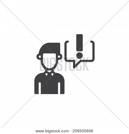 Businessman and exclamation mark in speech bubble icon vector, filled flat sign, solid pictogram isolated on white. Symbol, logo illustration.