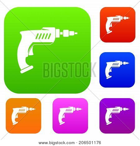 Drill set icon color in flat style isolated on white. Collection sings vector illustration